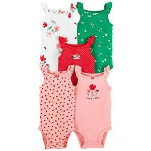Baby Girl Carter's 5-Pack Spring Flutter Tank Bodysuits