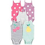 Baby Girl Carter's 5-Pack Stripe & Polka-Dot Tank Bodysuits