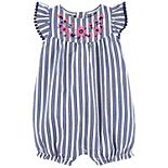 Baby Girl Carter's Floral Striped Romper