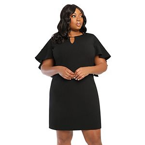 Plus Size Suite 7 Ruffle-Sleeve Shift Dress with Cutout