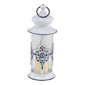 Stella & Eve French Country Metal Lantern with Finial & Ring