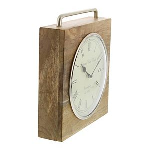 Stella & Eve Contemporary Mango Wood & Iron Table Clock