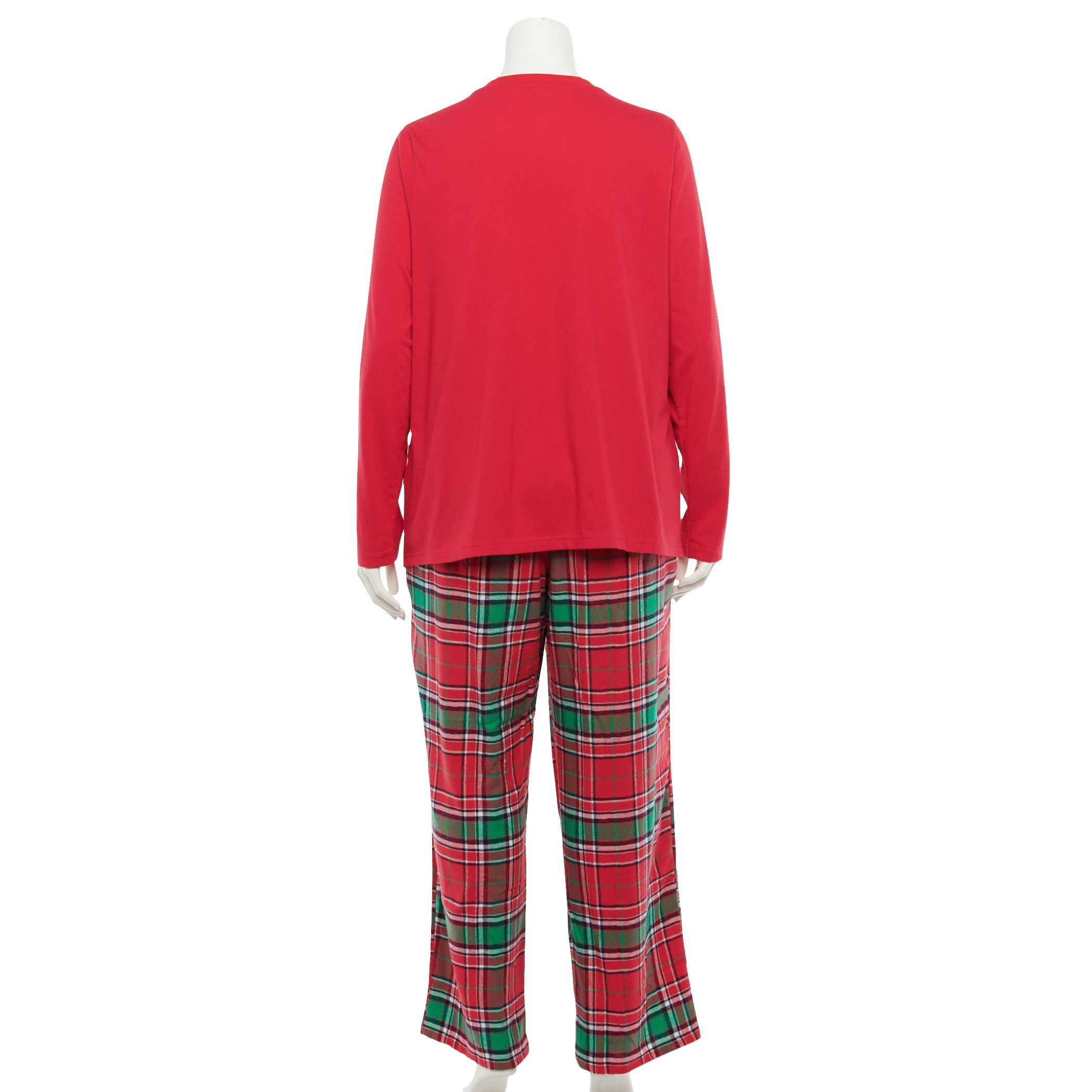 Plus Size Jammies For Your Families® Jingle All The Way Flannel Top & Pants Pajama Set