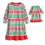 Jammies For Your Families® Toddler Girl Christmas Like You Mean It Nightgown & Matching Doll Gown Pajamas