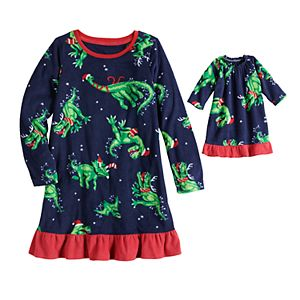 Toddler Girl Jammies For Your Families® Dino Family Microfleece Nightgown & Doll Pajama Set