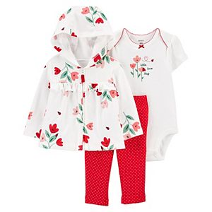Baby Girl Carter's 3-Piece Floral Jacket, Bodysuit & Pants Set