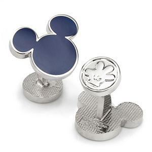 Men's Mickey Mouse Silhouette Blue Cufflinks