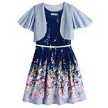 Girls 7-16 & Plus Size Knit Works Pleated Floral Skater Dress & Shrug Set