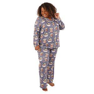 Plus Size Nite Nite by Munki Munki Star Wars Baby Yoda Pajama Shirt & Pajama Pants Set