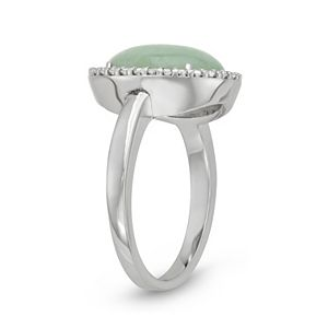 Sterling Silver Jade & Cubic Zirconia Halo Ring