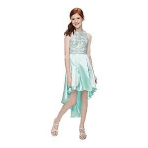 Girls 7-16 Speechless Lace to Pleated High-Low Dress