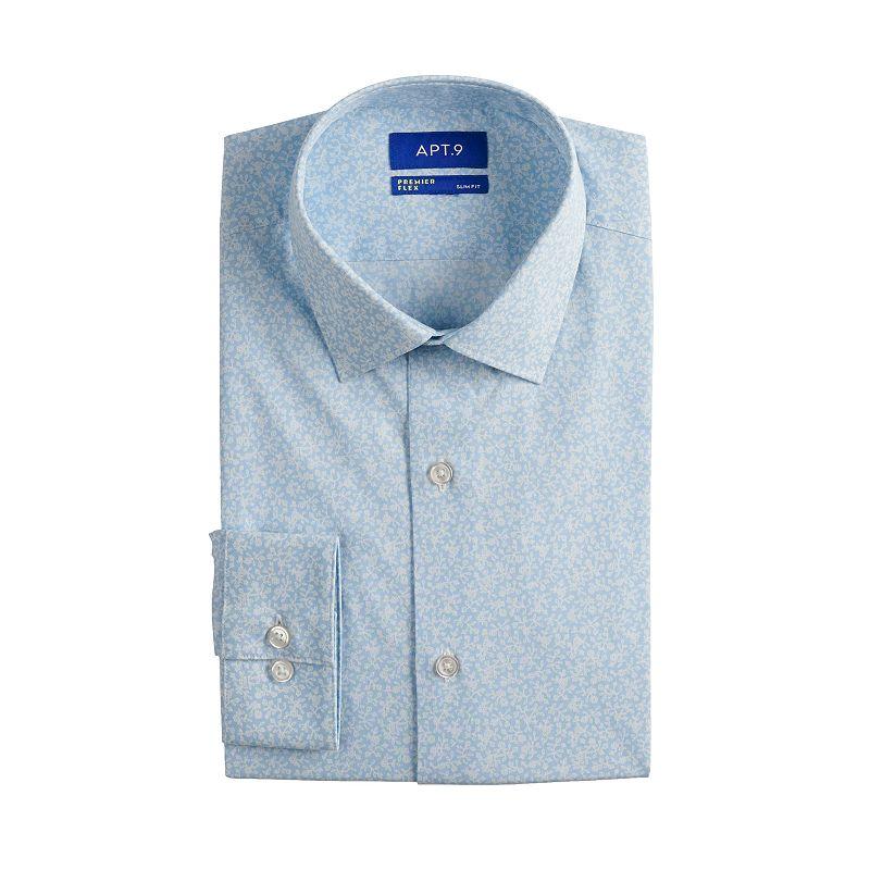 Men's Apt. 9 Premier Flex Slim-Fit Spread-Collar Dress Shirt, Size: 2XL-34/35, Med Blue