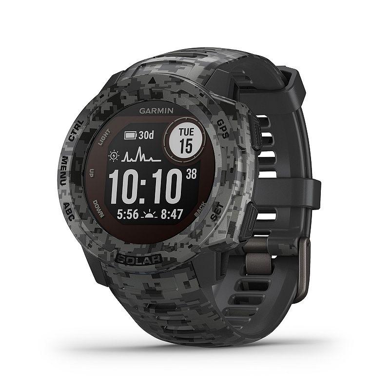 Garmin Instinct Solar Graphite Camo Rugged GPS Smartwatch with Solar Charging