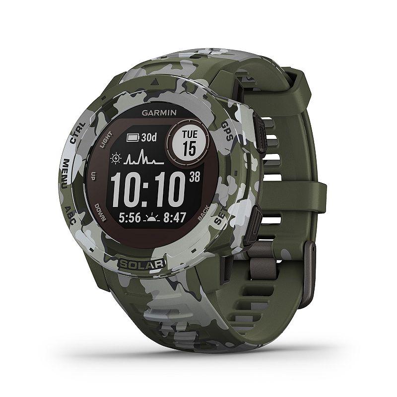 Garmin Instinct Solar Lichen Camo Rugged GPS Smartwatch with Solar Charging