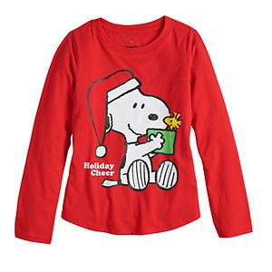 Girls 7-16 Family Fun? Peanuts Snoopy & Woodstock Christmas Graphic Tee