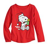 Toddler Girl Family Fun? Peanuts Snoopy & Woodstock Christmas Graphic Tee