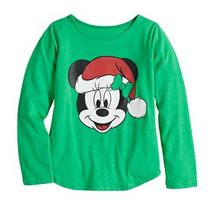 Disney's Minnie Mouse Toddler Girl Christmas Santa Hat Graphic Tee by Family Fun?