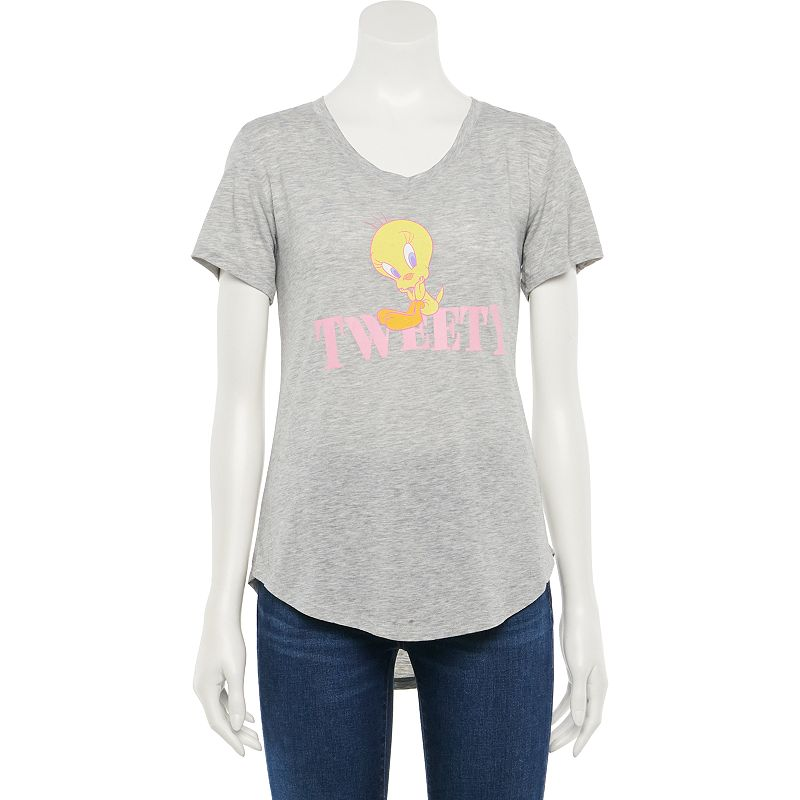 Juniors' Tweety Bird High-low Tee, Girl's, Size: XXL, Light Grey
