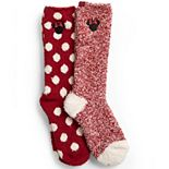 Disney's Minnie Mouse Women's Barefoot Dreams® Cozychic® 2-pack Socks