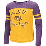 Girls Youth Colosseum Gold LSU Tigers Arabesque Long Sleeve T-Shirt
