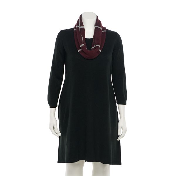 Juniors' Plus Size IZ Byer Fit & Flair Sweater Dress ... & Scarf Set