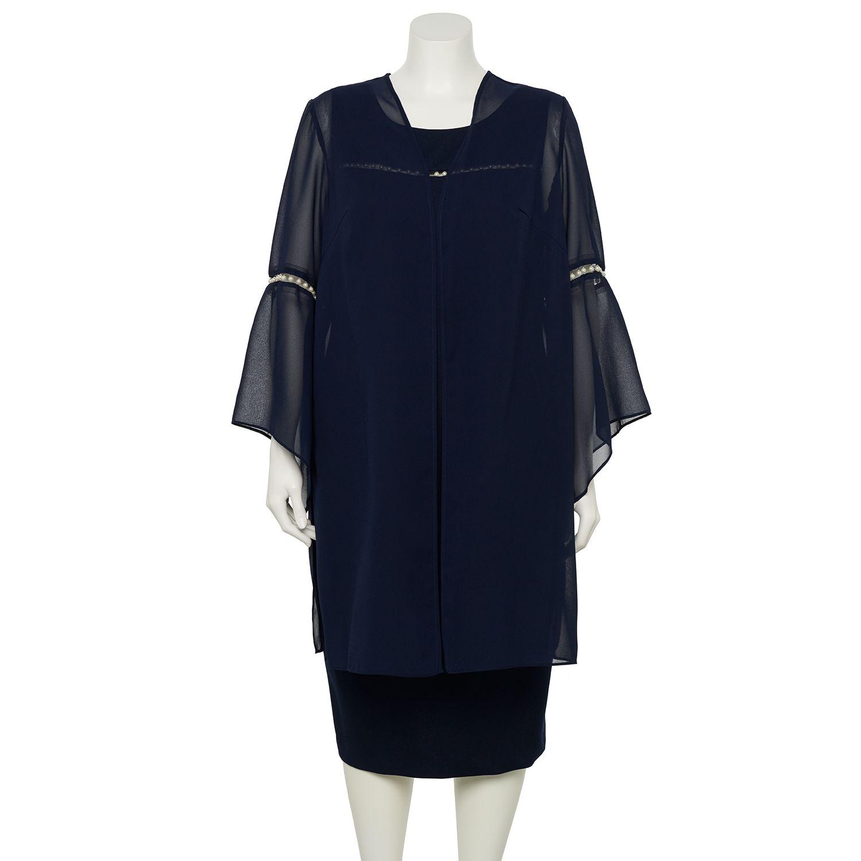 Plus Size Maya Brooke Pearl Trim Duster Jacket & Dress
