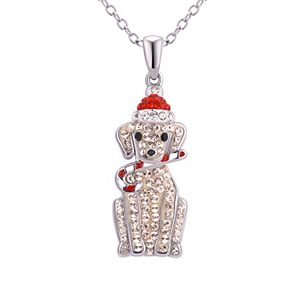 Silver-Plated Crystal Santa Dog Pendant Necklace