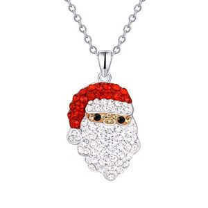 Silver-Plated Crystal Santa Pendant Necklace