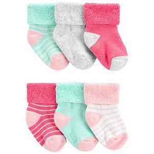 Baby Girl Carter's 6 Pack Striped Crew Socks