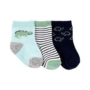 Baby Girl Carter's 3 Pack Stripes, Crocodiles & Turtle Crew Socks
