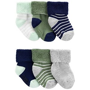 Baby Carter's 6 Pack Striped Terry Crew Socks