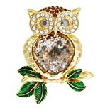 Napier Gold Tone Simulated Crystal Owl Pin
