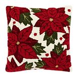 St. Nicholas Square® Hooked Poinsettia Throw Pillow