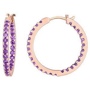 Stella Grace 10k Rose Gold Amethyst Hoop Earrings