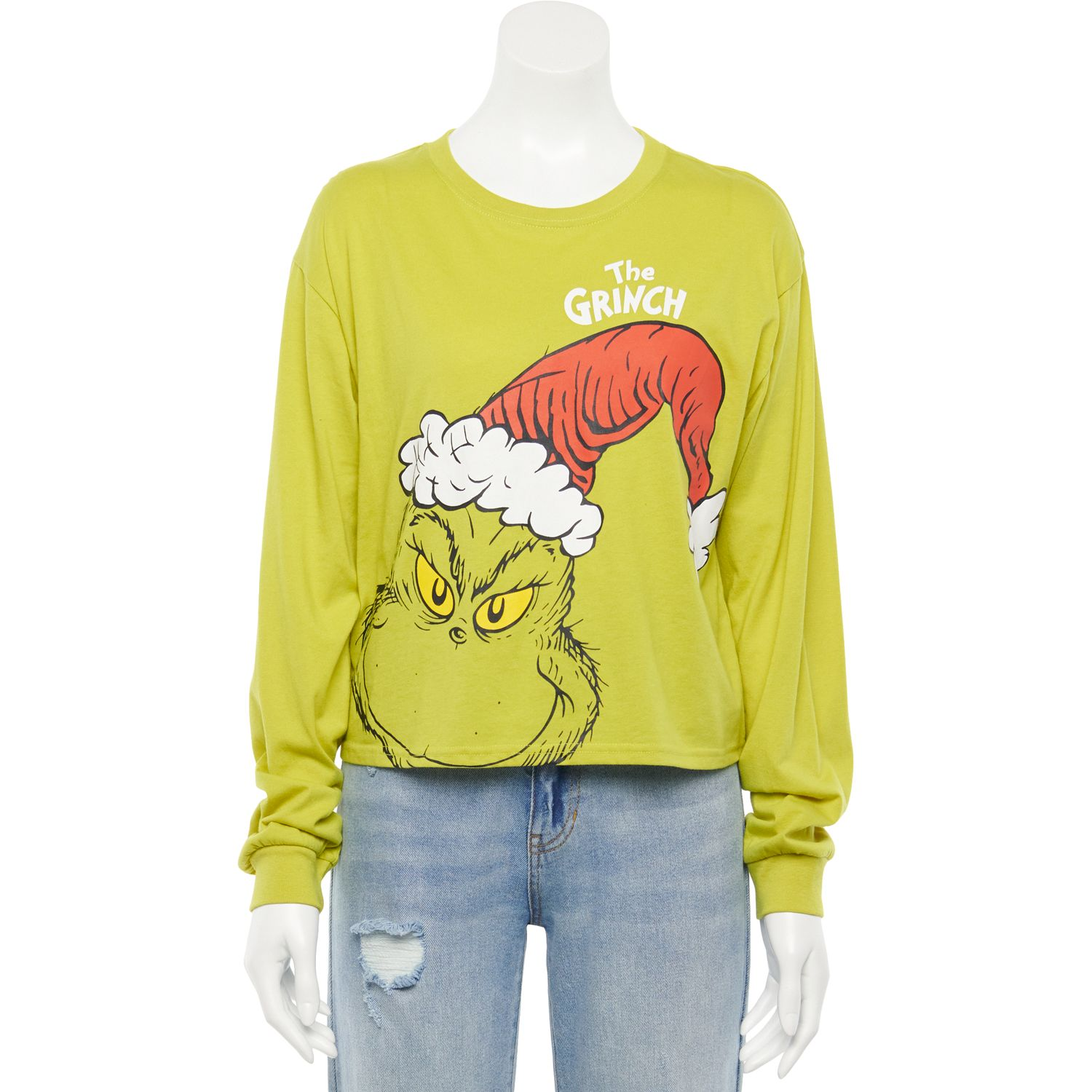 Juniors' Dr. Seuss' How The Grinch Stole Christmas Grinch Santa Hat Long Sleeve Graphic Tee
