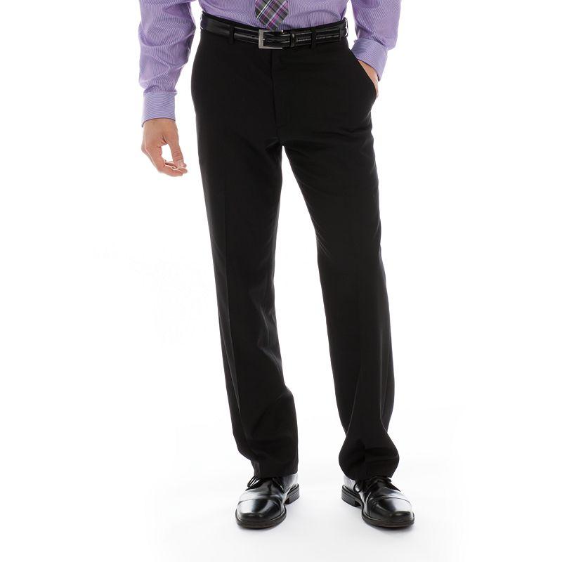 Billy London Slm-Fit Flat-Front Black Suit Pants