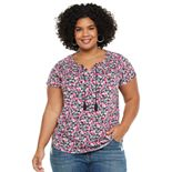 Plus Size EVRI? Shirred Yoke Challis Tee