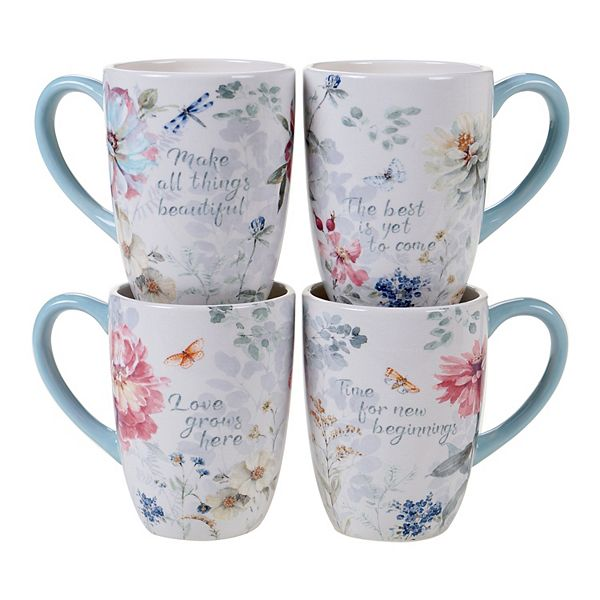 Certified International Spring Bouquet 4 Pc Mug Set