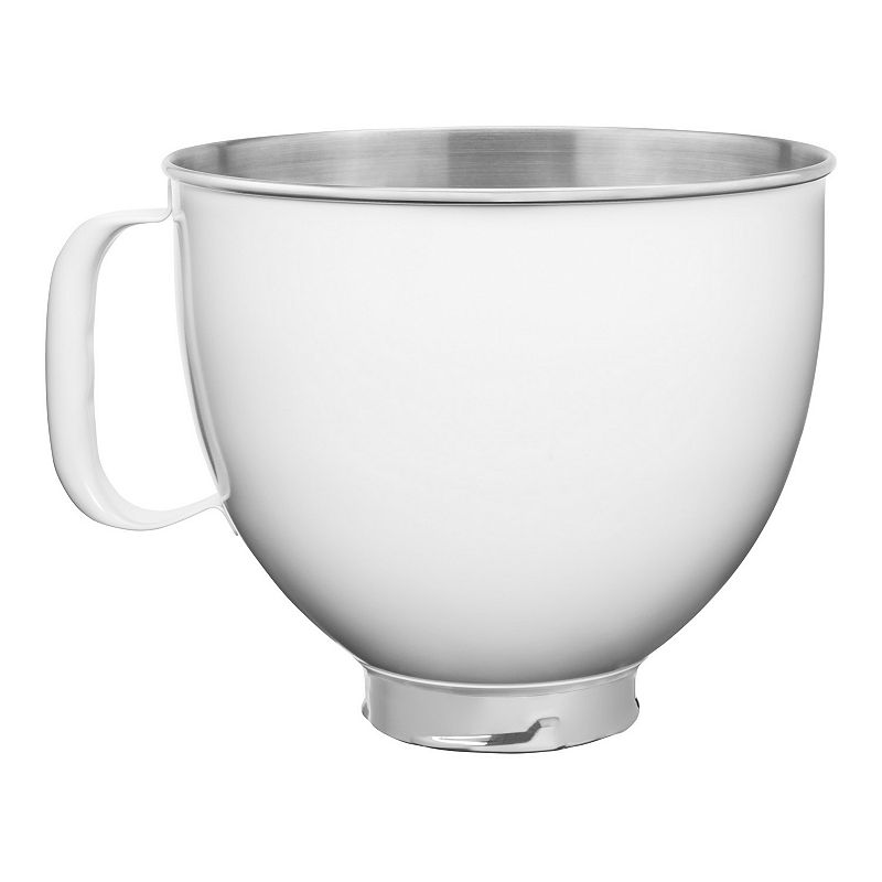KitchenAid KSM5SSB 5-qt. Tilt-Head Colorfast Finish Stainless Steel Stand Mixer Bowl, White, 5 QT