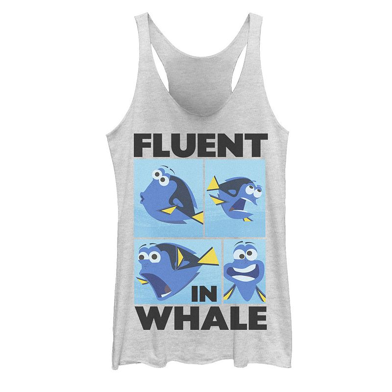 Juniors' Disney/Pixar Finding Dory Fluent in Whale Tank Top, Girl's, Size: Small, White