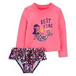 Toddler Girl Carter's Mermaid Rashguard Top & Bottoms Swimsuit Set
