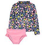 Toddler Girl Carter's Floral Long Sleeve Rashguard Top & Bottoms Swimsuit Set