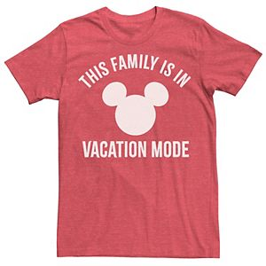 """Men's Disney Park """"This Family Is In Vacation Mode"""" Mickey Mouse Head Logo Tee"""