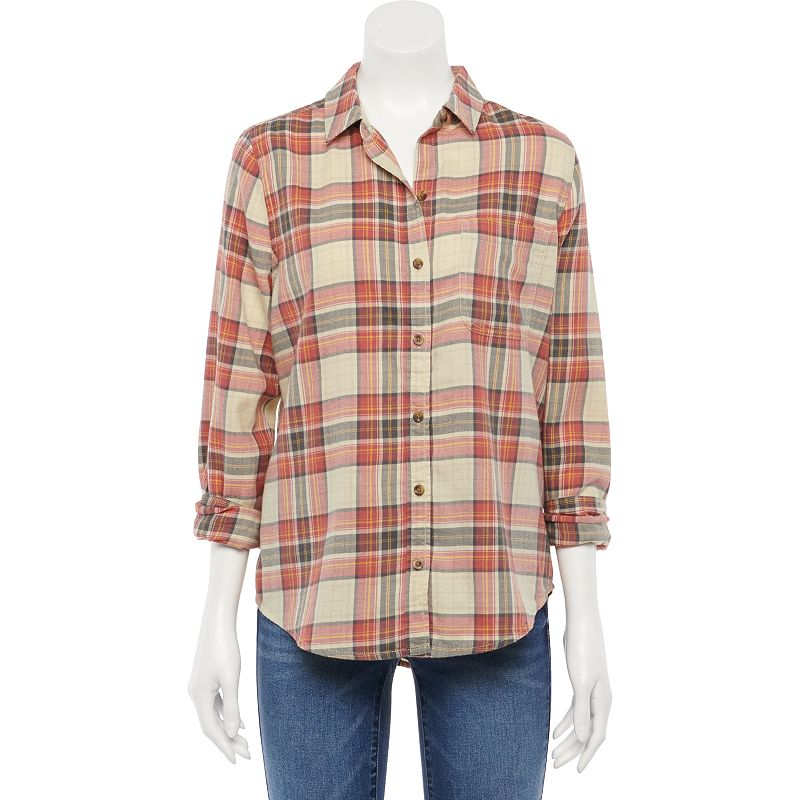 Juniors' SO Relaxed Fit Flannel Shirt, Girl's, Size: XXL, White