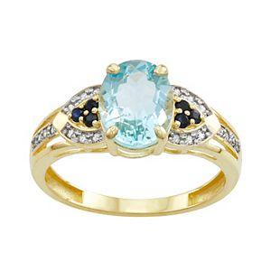 10k Gold Aqua Sapphire Diamond Ring