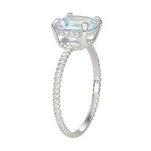 10k Gold Aquamarine Twist Ring
