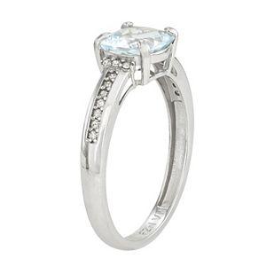 10k Gold Aquamarine and Diamond Ring