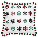 Enchante Mini Pom Pom Snowflake Throw Pillow