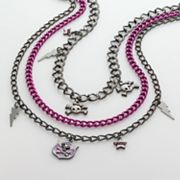 Abbey Dawn Hematite Multistrand Skull & Lightning Bolt Charm Necklace