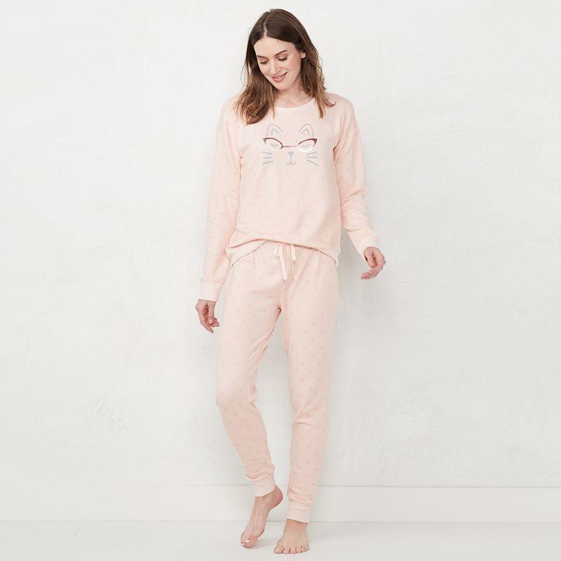Women's LC Lauren Conrad Pajama Shirt & Pajama Pants Set, Size: XXL, Light Pink